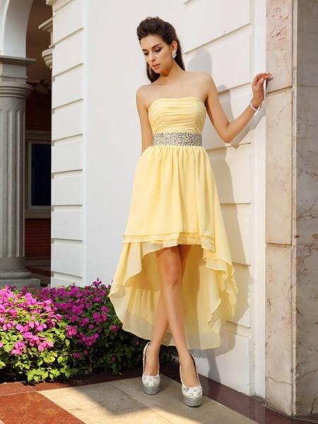 A-Line/Princess Chiffon Beading Strapless Sleeveless Asymmetrical Dresses