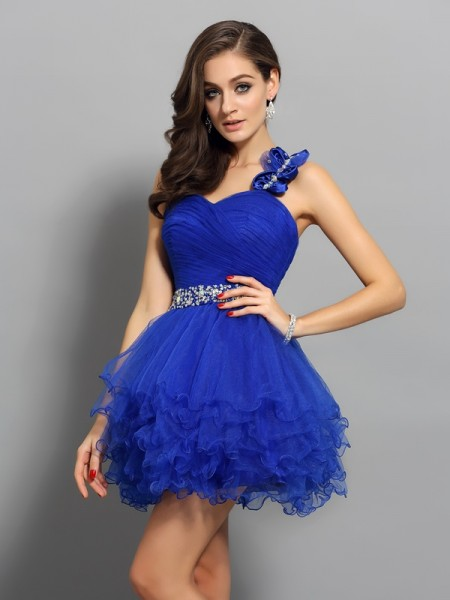 A-Line/Princess Organza Beading One-Shoulder Short/Mini Sleeveless Dresses