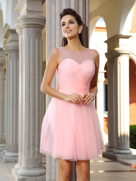 A-Line/Princess Satin Beading Scoop Sleeveless Short/Mini Dresses