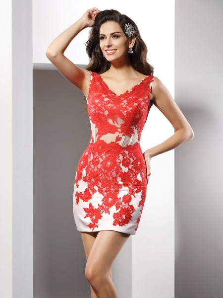 Sheath/Column Satin Applique V-neck Sleeveless Short/Mini Dresses