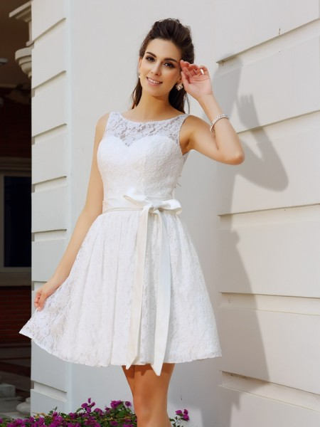A-Line/Princess Lace Sash/Ribbon/Belt Scoop Sleeveless Short/Mini Dresses
