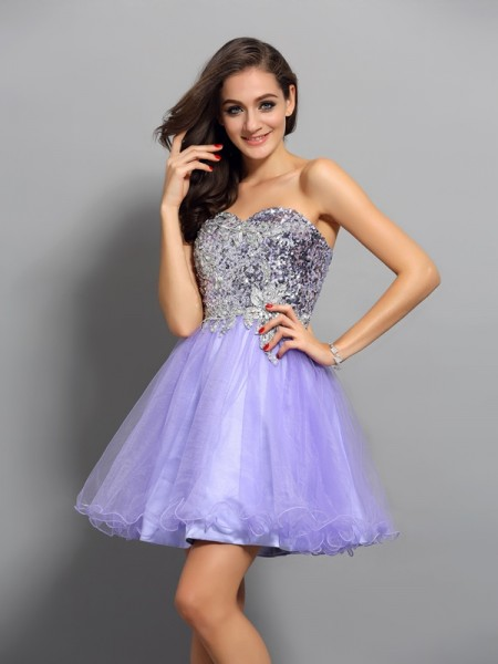 A-Line/Princess Net Sweetheart Beading Short/Mini Sleeveless Dresses