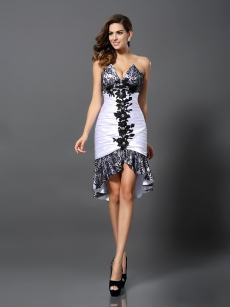 Sheath/Column Elastic Woven Satin Lace Sweetheart Sleeveless Asymmetrical Dresses
