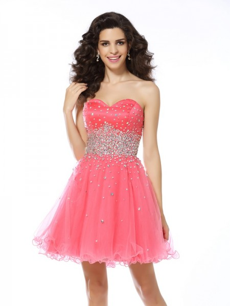 A-Line/Princess Organza Beading Sweetheart Sleeveless Short/Mini Dresses