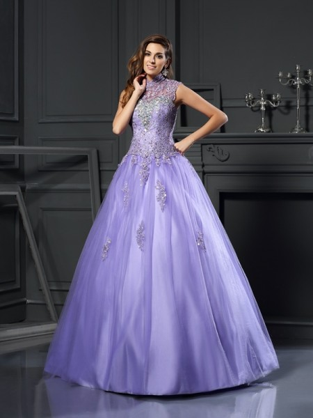 Ball Gown High Neck Net Beading Sleeveless Floor-Length Dresses