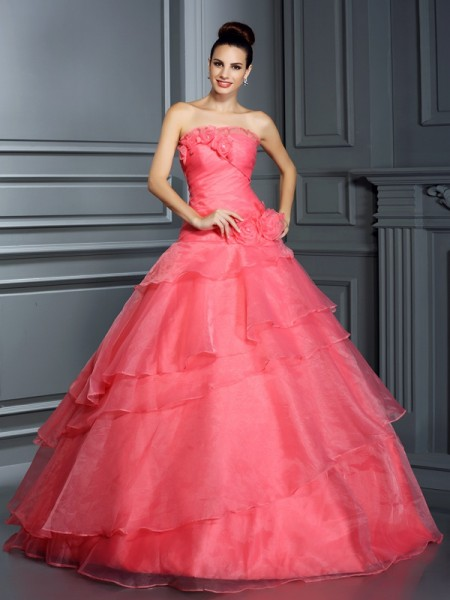 Ball Gown Strapless Organza Hand-Made Flower Floor-Length Sleeveless Dresses