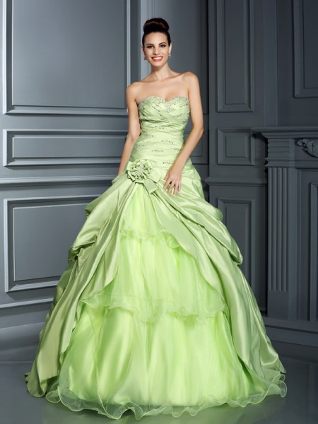 Ball Gown Sweetheart Taffeta Hand-Made Flower Sleeveless Floor-Length Dresses