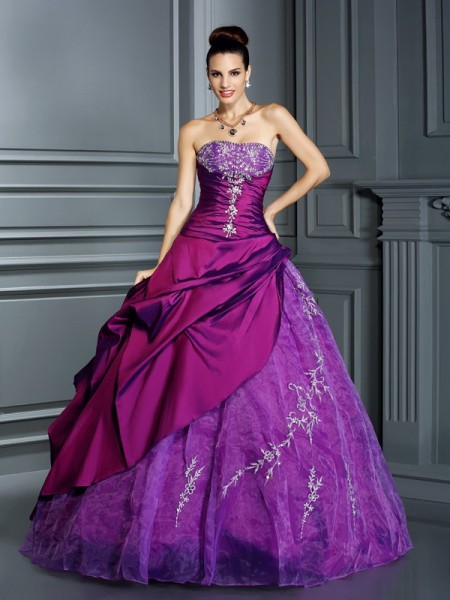 Ball Gown Taffeta Strapless Sleeveless Floor-Length Applique Dresses