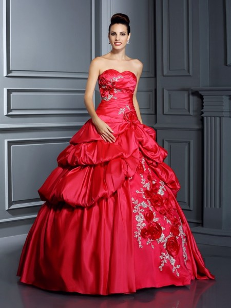 Ball Gown Taffeta Sweetheart Sleeveless Hand-Made Flower Floor-Length Dresses