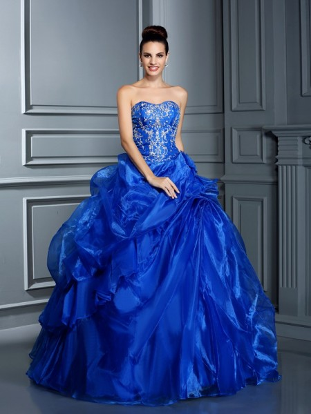 Ball Gown Satin Applique Sweetheart Sleeveless Floor-Length Dresses