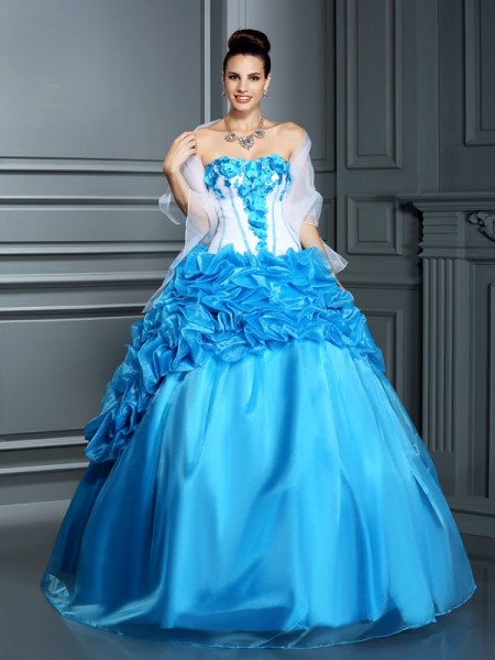 Ball Gown Satin Ruffles Sweetheart Sleeveless Floor-Length Dresses