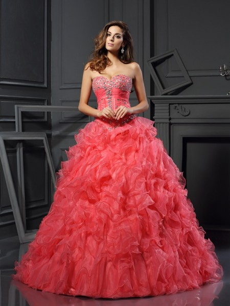 Ball Gown Organza Ruffles Sweetheart Floor-Length Sleeveless Dresses