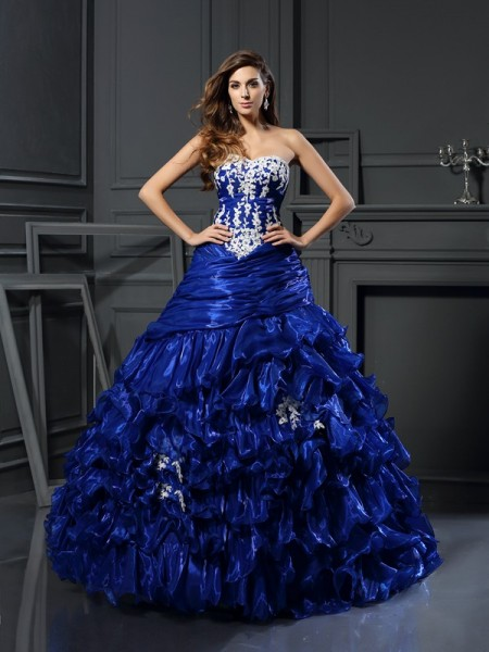 Ball Gown Sweetheart Tulle Beading Sleeveless Floor-Length Dresses