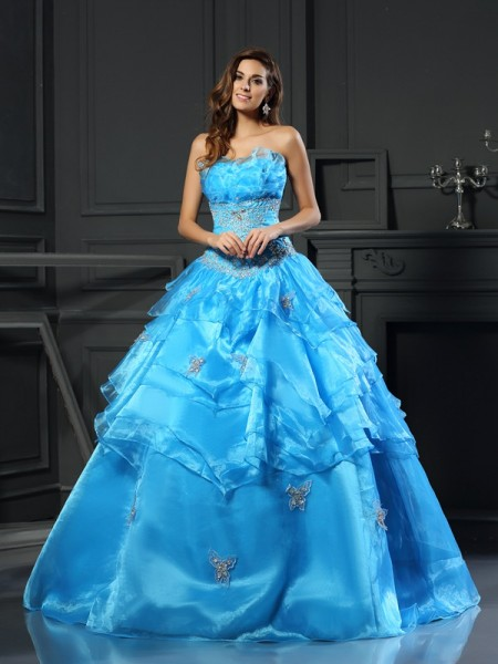 Ball Gown Sweetheart Organza Beading Sleeveless Floor-Length Dresses