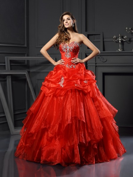 Ball Gown Tulle Beading Sweetheart Floor-Length Sleeveless Dresses