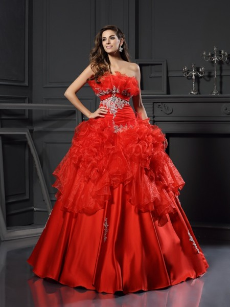 Ball Gown Organza Ruffles Strapless Sleeveless Floor-Length Dresses