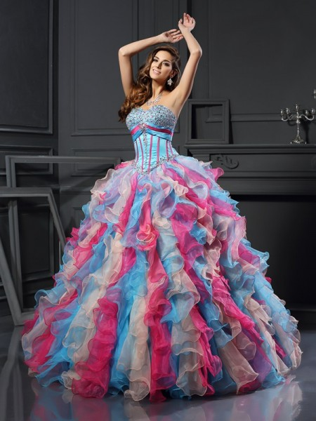Ball Gown Organza Beading Sweetheart Sleeveless Floor-Length Dresses