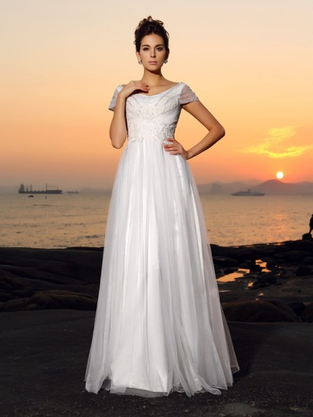 A-Line/Princess Tulle Beading Off-the-Shoulder Short Sleeves Floor-Length Wedding Dresses