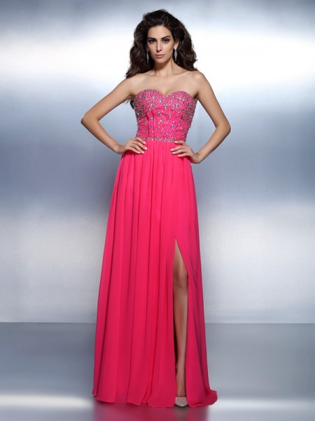 A-Line/Princess Chiffon Sweetheart Floor-Length Beading Sleeveless Dresses