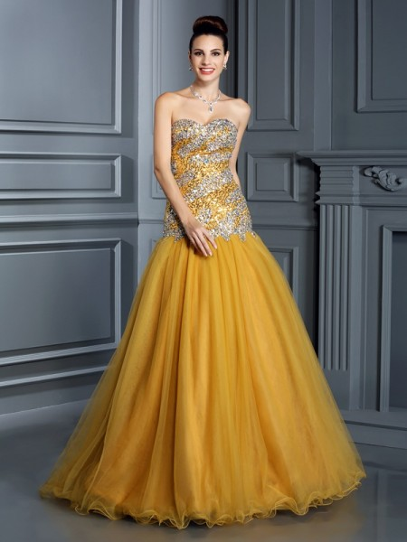 A-Line/Princess Satin Sweetheart Sleeveless Ruffles Floor-Length Dresses
