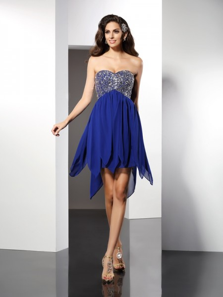 A-Line/Princess Chiffon Sweetheart Sleeveless Beading Short/Mini Dresses