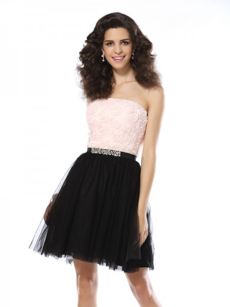 A-Line/Princess Strapless Tulle Short/Mini Sleeveless Dresses
