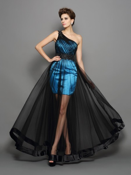 A-Line/Princess Elastic Woven Satin One-Shoulder Sleeveless Floor-Length Ruched Dresses