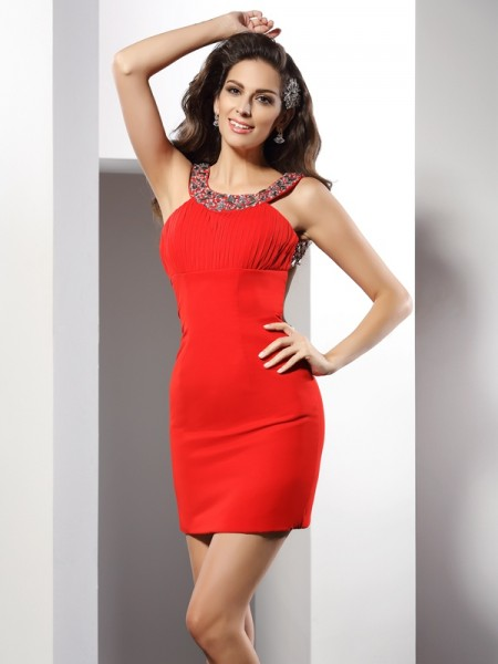 Sheath/Column Scoop Chiffon Beading Sleeveless Short/Mini Dresses