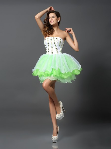 A-Line/Princess Organza Ruffles Strapless Sleeveless Short/Mini Dresses