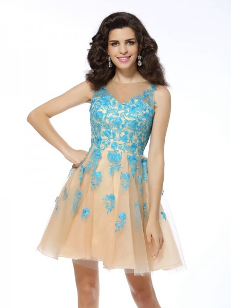 A-Line/Princess Tulle Applique Bateau Sleeveless Short/Mini Dresses