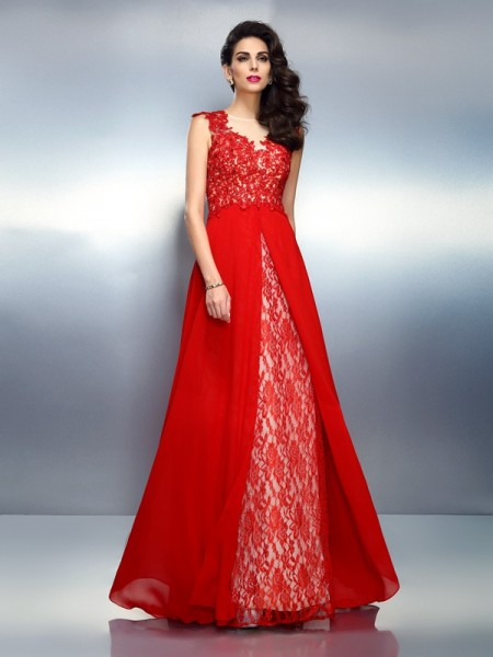 A-Line/Princess Bateau Net Applique Sleeveless Sweep/Brush Train Dresses