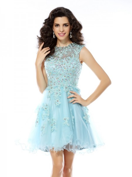 A-Line/Princess Scoop Satin Beading Sleeveless Short/Mini Dresses