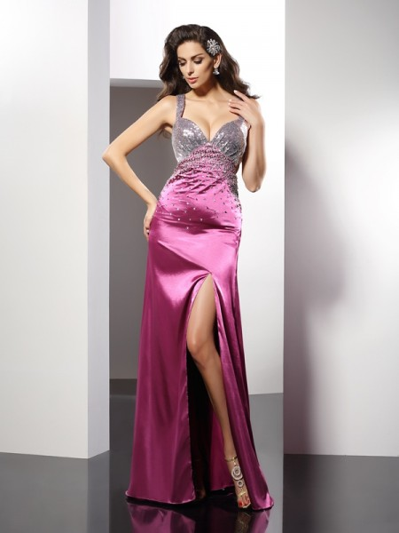 A-Line/Princess Straps Elastic Woven Satin Beading Sleeveless Floor-Length Dresses
