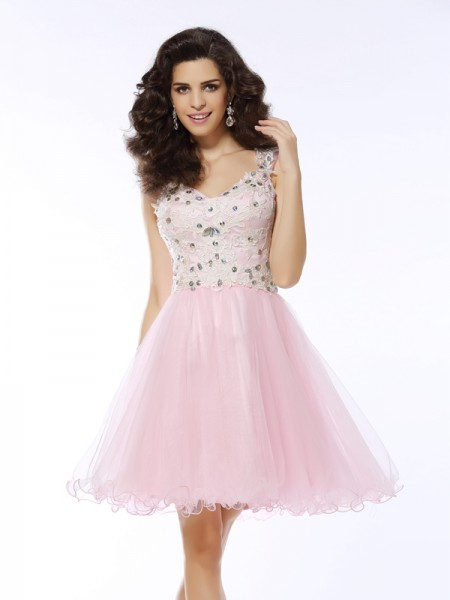 A-Line/Princess Sweetheart Satin Applique Short/Mini Sleeveless Dresses