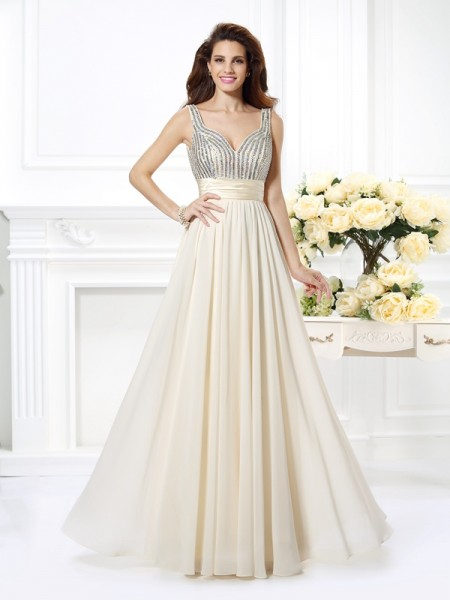 A-Line/Princess Chiffon Straps Sleeveless Floor-Length Beading Dresses