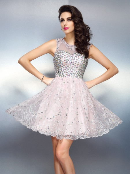 A-Line/Princess Satin Bateau Sleeveless Beading Short/Mini Dresses