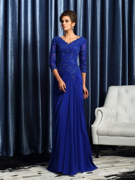 A-Line/Princess Chiffon V-neck Sweep/Brush Train Applique 3/4 Sleeves Mother of the Bride Dresses
