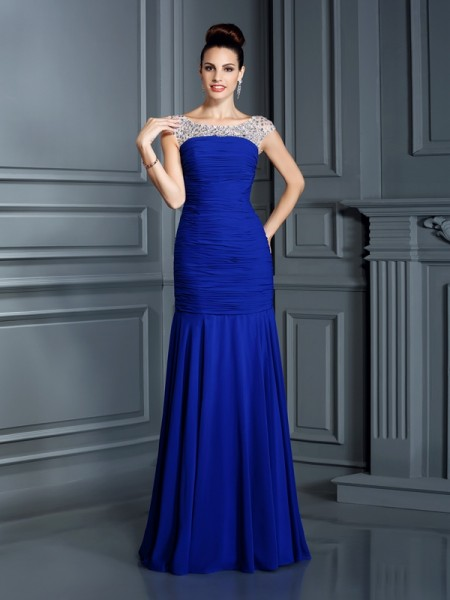 Trumpet/Mermaid Chiffon Beading Scoop Sleeveless Floor-Length Dresses
