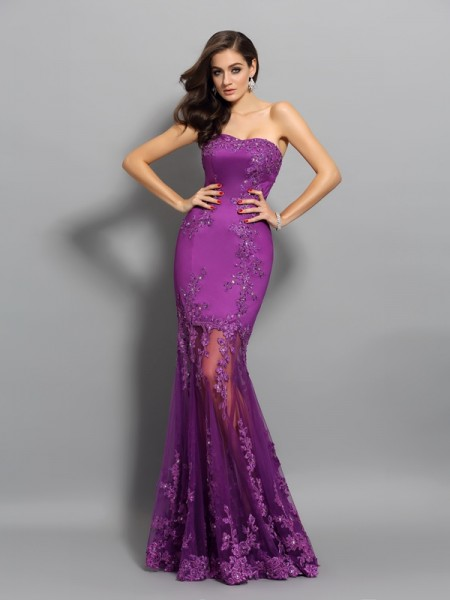Trumpet/Mermaid Beading Sweetheart Sleeveless Chiffon Floor-Length Dresses
