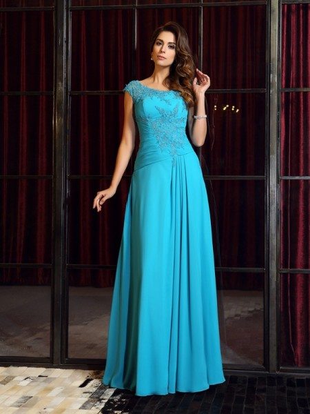 A-Line/Princess Scoop Chiffon Floor-Length Applique Sleeveless Dresses