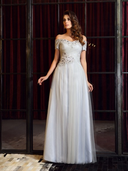 A-Line/Princess Net Off-the-Shoulder Beading Floor-Length Sleeveless Dresses