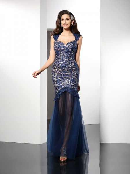 Trumpet/Mermaid Sweetheart Net Sleeveless Lace Sweep/Brush Train Dresses