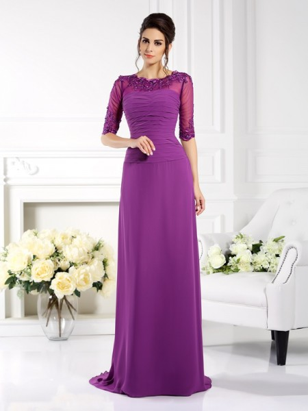 Sheath/Column Scoop Chiffon Applique Sweep/Brush Train 1/2 Sleeves Mother of the Bride Dresses