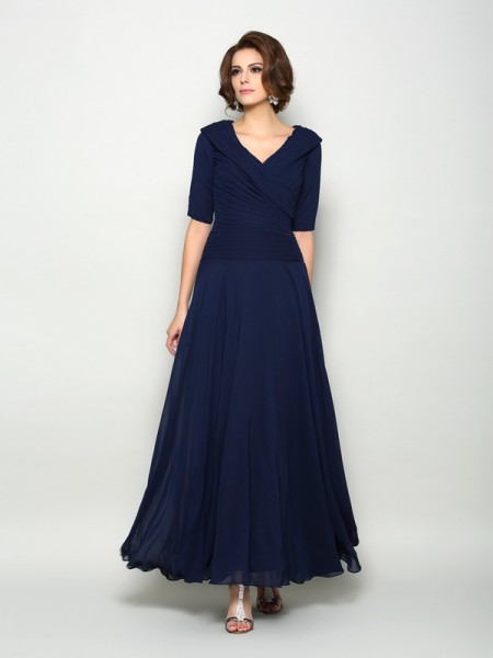 A-Line/Princess Chiffon V-neck 1/2 Sleeves Ankle-Length Mother of the Bride Dresses