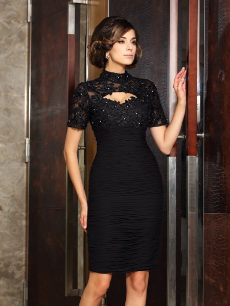Sheath/Column Chiffon High Neck Beading Knee-Length Short Sleeves Mother of the Bride Dresses