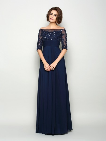 A-Line/Princess Off-the-Shoulder 1/2 Sleeves Beading Chiffon Floor-Length Mother of the Bride Dresses