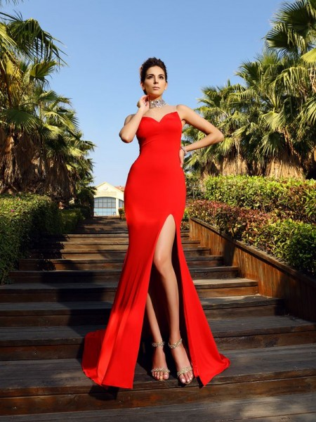 Sheath/Column Spandex High Neck Sleeveless Beading Court Train Dresses