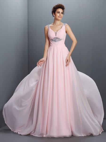 A-Line/Princess Chiffon Straps Sleeveless Sweep/Brush Train Beading Dresses
