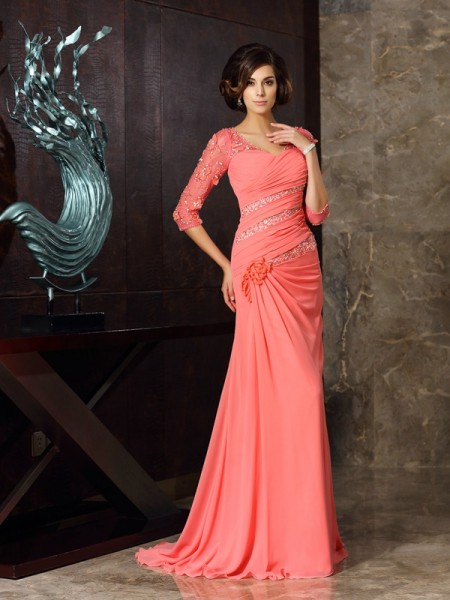 Trumpet/Mermaid Sweetheart 1/2 Sleeves Chiffon Sweep/Brush Train Mother of the Bride Dresses