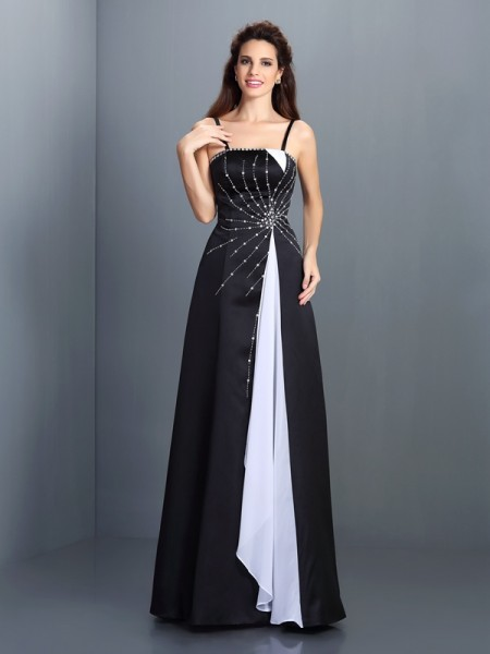 A-Line/Princess Chiffon Spaghetti Straps Sleeveless Floor-Length Dresses